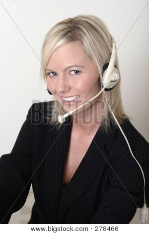 Pretty Lady Switchboard Operator Wearing Headset