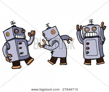 Vector cartoon robots dancing the robot