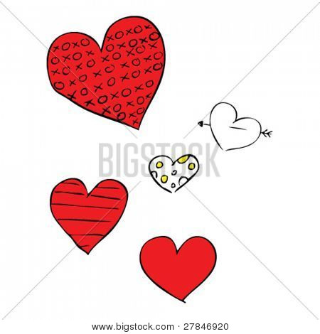 quirky drawing of Valentine hearts