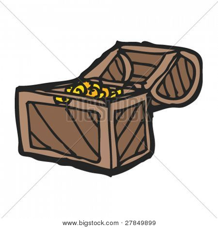 quirky drawing of a treasure chest