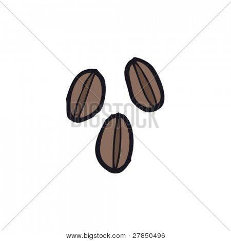 quirky coffee bean drawing