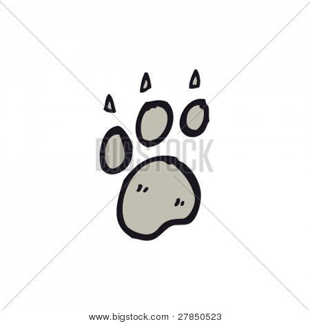 quirky drawing of paw print