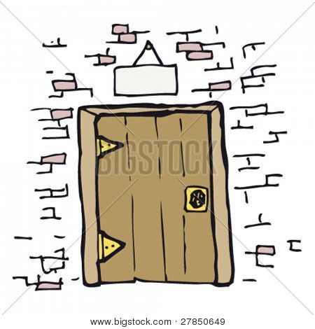quirky drawing of a door in wall