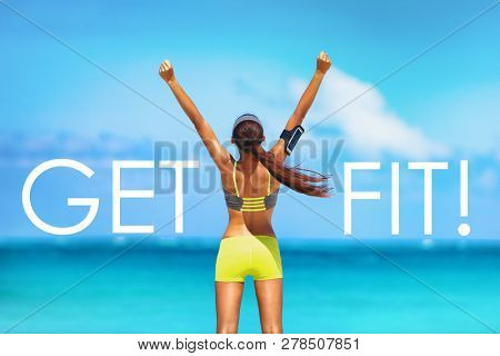poster of Get FIT motivational message weight loss poster for fitness concept. New Year resolution inspiration