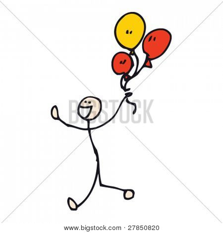 quirky drawing of stick man with balloons