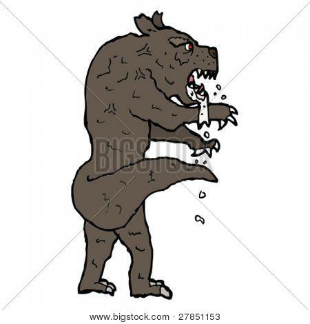 quirky cartoon werewolf