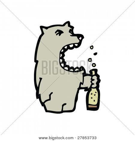 wolf and beer cartoon