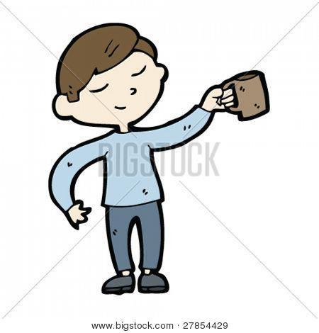 homem com desenhos animados de caneca de café