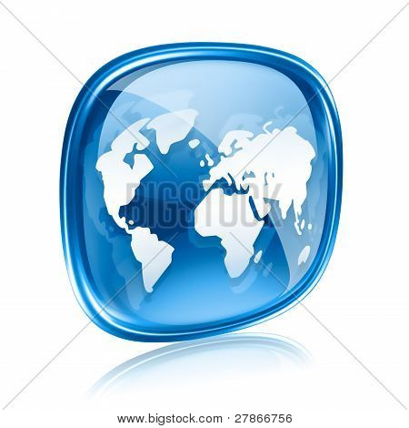 World Icon Blue Glass, Isolated On White Background.