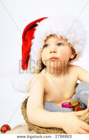 Little Boy And Christmas Hat