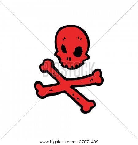 red skull and crossbones cartoon