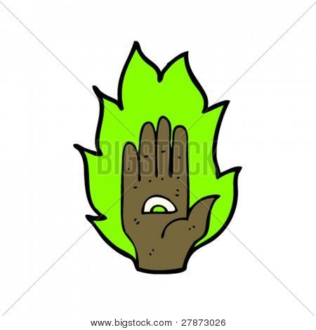 psychic symbol hand cartoon