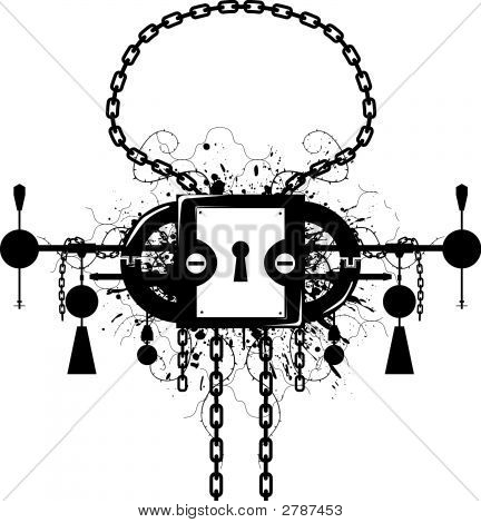 Emblema de cerradura de Grunge