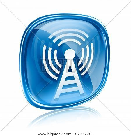 Wi-fi Tower Icon Blue Glass, Isolated On White Background