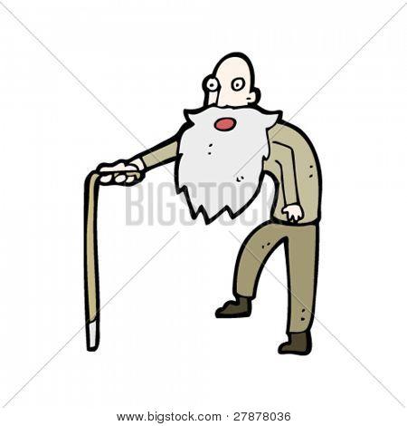 oude man met riet cartoon