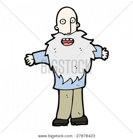 happy cartoon old man with huge beard