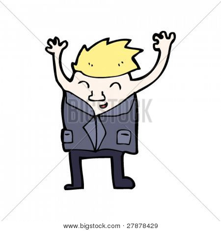 businessman jumping out of suit cartoon