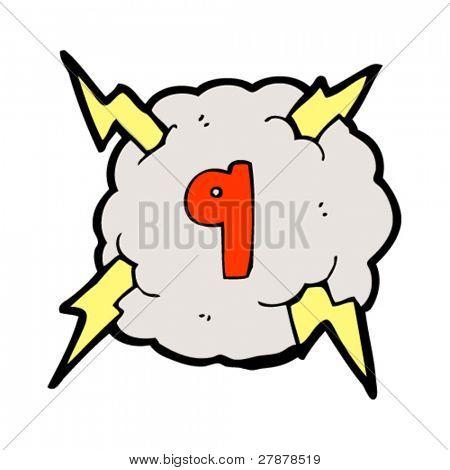 cartoon lightning bolt storm cloud number 9