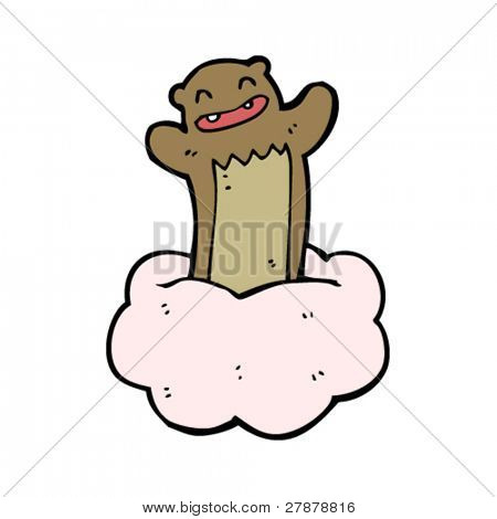 happy bear on floaty cloud cartoon