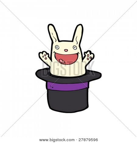happy rabbit in magician's hat cartoon