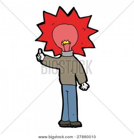 glowing red light bulb head cartoon man with idea
