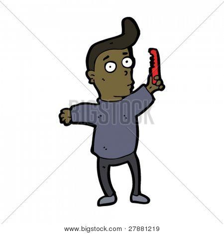 vain man combing hair cartoon