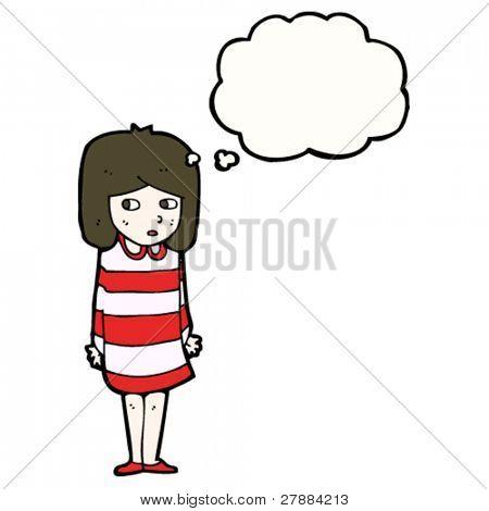 cartoon thoughtful girl looking sideways