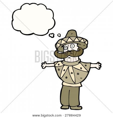 cartoon mexican stereotype man with huge mustache