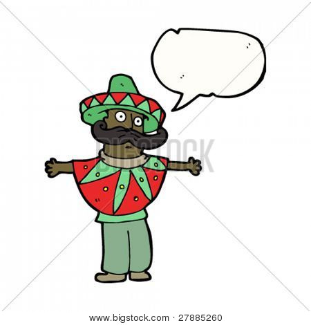 cartoon mexican dress man with big mustache and speech bubble