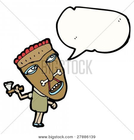 cartoon cannibal with speech bubble