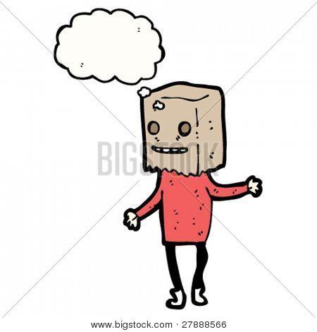 persona fea de dibujos animados con el bolso en la cabeza