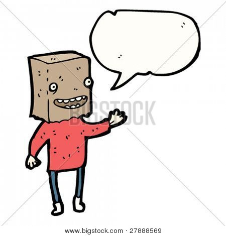 cartoon ugly man with bag covering head