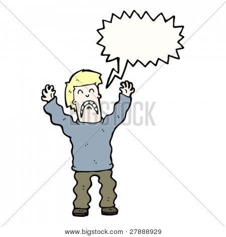 cartoon terrified man screaming