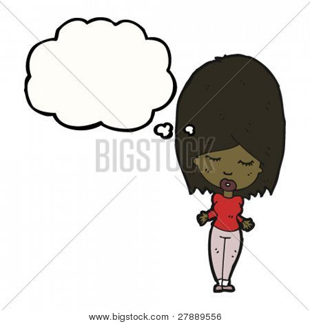 pretty cartoon woman with thought bubble