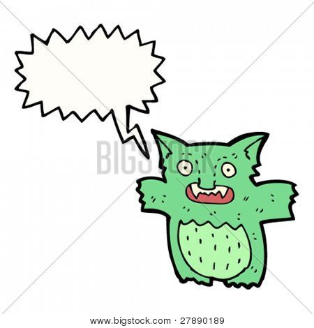 cartoon green gremlin creature