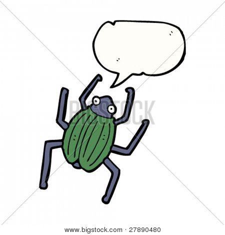 cartoon beetle with speech bubble