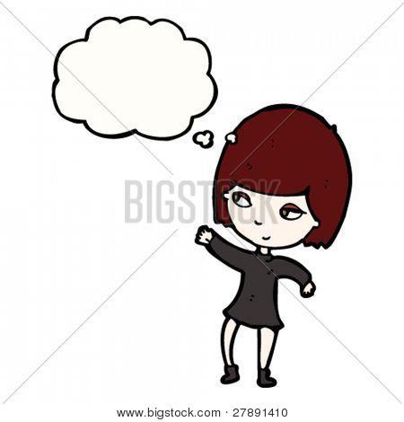 cartoon pretty goth girl waving