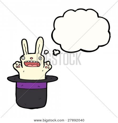 cartoon rabbit in magician's hat with thought bubble