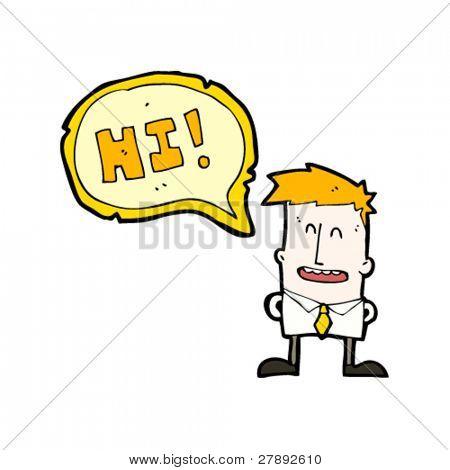 cartoon ginger office boy saying hi