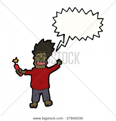 cartoon shouting man with stick of dynamite