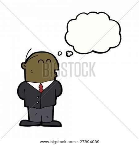 cartoon balding businessman considering something