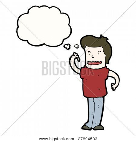 cartoon confident man with thought bubble