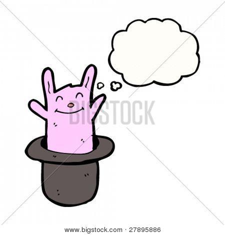 cartoon happy little rabbit in magician's hat