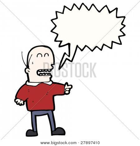 Cartoon Glatzenbildung Mann zeigen