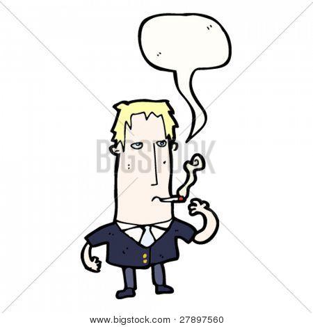 hombre de dibujos animados en fumar blazer
