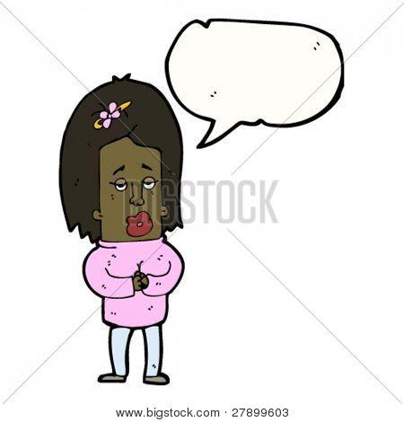 big head woman talking