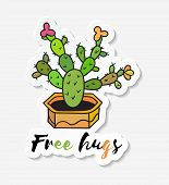 Sticker With Cactus In Pot With The Inscription Free Hugs. Colored Funny Cute Cactus With Black Cont poster