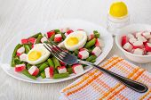 Green Beans With Crab Sticks, Boiled Eggs In White Dish, Bowl With Crab Sticks, Salt Shaker, Fork, N poster