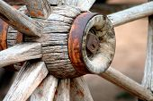 foto of covered wagon  - Hub of an old wagon wheel - JPG