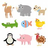 Set Of Cartoon Images Of Animals. A Collection Of Funny Animals. Cute Cartoon Animals. poster